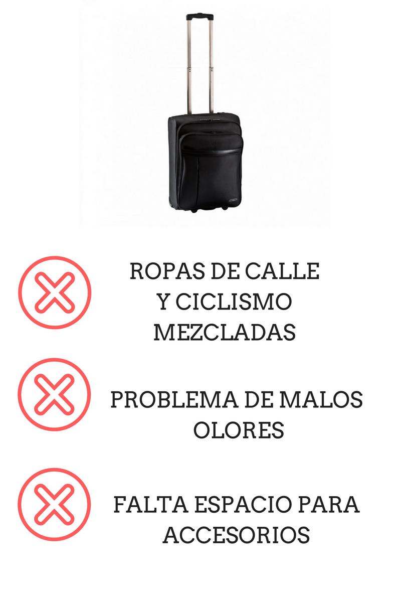 La maleta trolley para llevar nuestra ropa de calle no debe mezclarse con la de ciclismo
