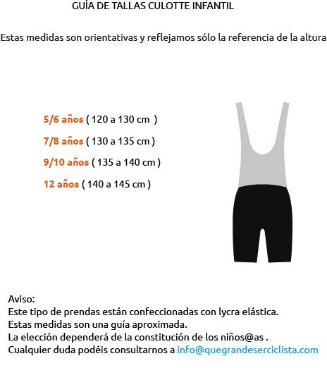 guía tallas culotte ciclismo niños